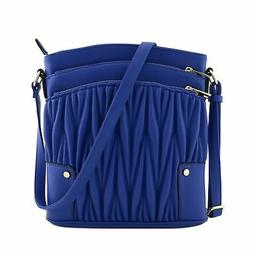 Triple Zip Pocket Large Crossbody Bag Quilted Royal Blue