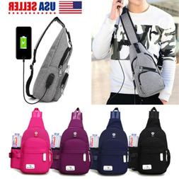 Unisex Shoulder Bag Sling Chest Pack Canvas USB Charging Nyl