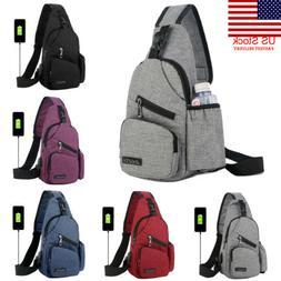 US Men Women Shoulder Bag Sling Chest Pack USB Charging Spor