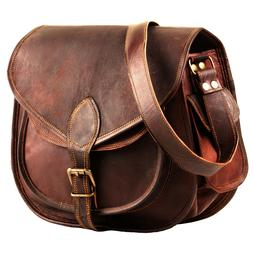 Brown Leather Cross Body Messenger Bag For Women