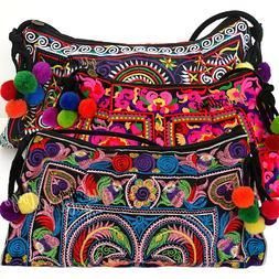 Vintage Boho Embroidery Women's Crossbody Bag Shoulder Messe