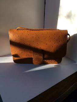 Mundi Vintage Ostrich Leather Crossbody Purse Shoulder Bag W