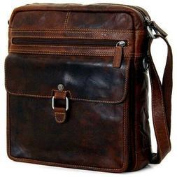 Jack Georges Voyager Large Crossbody Bag Brown Leather Men W