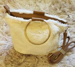 White & Brown Faux Fur Fuzzy Crossbody Bag Adjustable Should