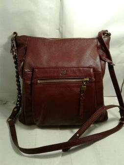 Womans Elliot Lucca Cross Body Handbag Burgundy Leather Slim