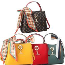 Women Bucket Satchel Chain Pendant Handbags Scarves Tote Sho