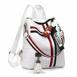 Women's Fashion Faux Leather Backpack Rucksack Handbag Cross