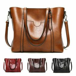 Women Large Soft Leather Shopping Bag Crossbody Satchel Shou