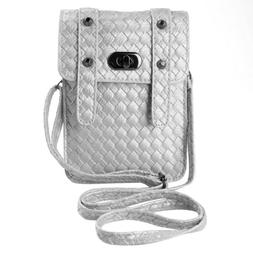 Women Leather Braided Phone Pouch Purse Case Crossbody Bag F