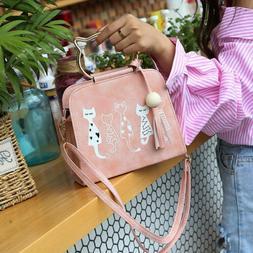 For Women Leather Handbag Cat Shoulder Bag Lady Girl Crossbo