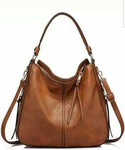 Women's Leather Hobo Bag, Crossbody Handbag Brand New BROWN
