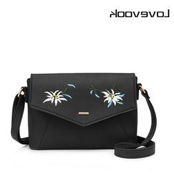 LOVEVOOK women shoulder crossbody bag female flower embroide
