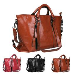 Women Soft Oiled Leather Handbag Messenger Shoulder Tote Bag