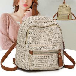 Women Summer Mini Backpack Straw Shoulder Bags Rattan Bag Wo