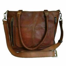 Womens Crossbody Genuine Leather Shoulder Tote Handbag Vinta
